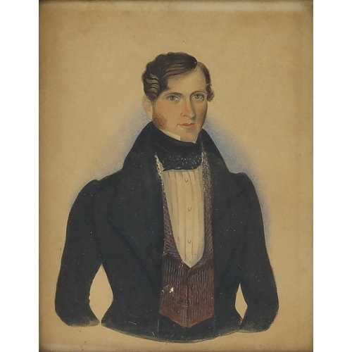 15 - Rectangular hand painted portrait of a gentleman wearing a cravat, housed in a rosewood frame, 13cm ...