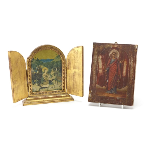 44 - Two Russian religious icons including one of the Vision of St Hubert by Van Der Weyd, and one hand p...
