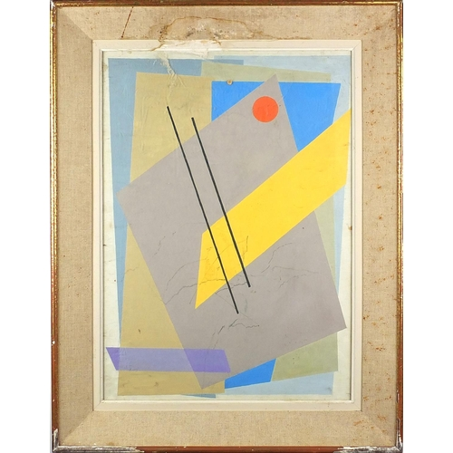 1167 - Abstract composition, geometric shapes, gouache onto board, bearing an indistinct monogram to the lo...