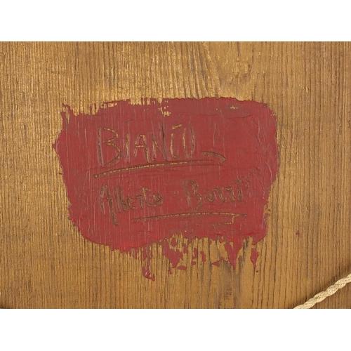 1163 - Abstract composition, impasto oil onto canvas board, bearing a signature Butta, inscription verso, m...