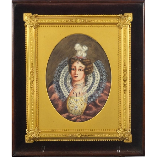 10 - Good 19th century gilt frame housing a watercolour portrait of a feamle by G B Warner, 20.5cm x 15cm...