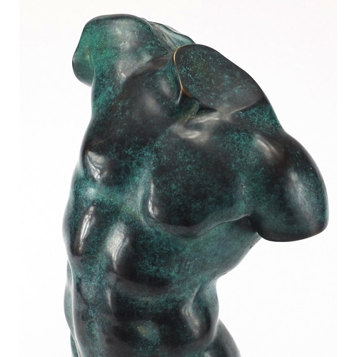 26 - Patinated bronze study of a classical torso, on square marble base, overall 39cm high...