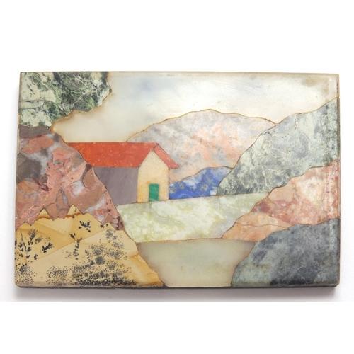 38 - Rectangular Pietra dura landscape plaque inlaid with various stones including malachite and Lapiz La...