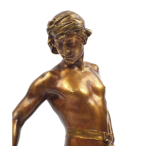 23 - Clément Léopold Steiner 1853-1899, gilt patinated bronze study of a semi nude man teasing a cat, on ...