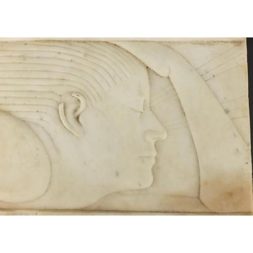 35 - Rectangular Art Deco white marble modernist carving of a female, 33cm x 19.5cm...