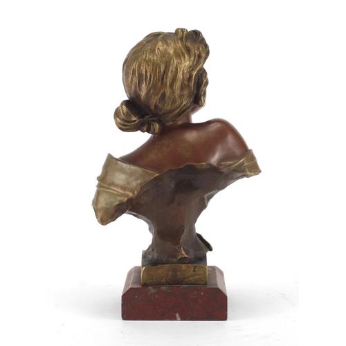 25 - Emmanuel Villanis 1858-1914, Seule!, patinated bronze bust of an Art Nouveau maiden, on red variegat...