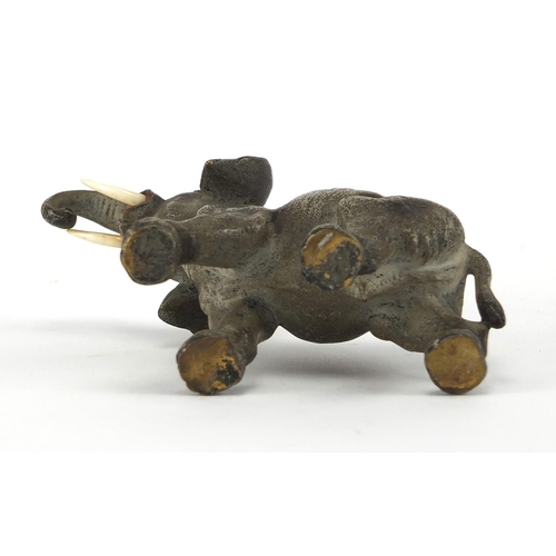 28 - Austrian cold painted bronze elephant, 15cm in length...