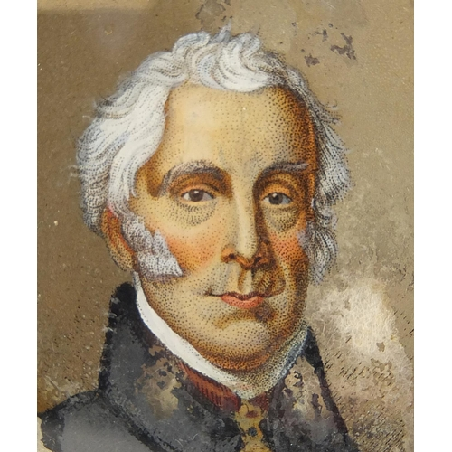 12 - 19th century circular reverse glass hand painted portrait miniature, of a gentleman wearing a cravat...