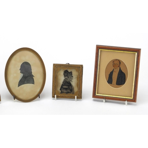 13 - Antique and later miniatures and silhouettes, including a pair of reverse glass silhouettes and a pa...