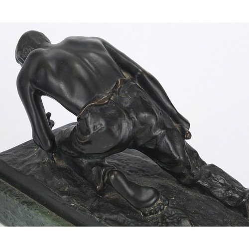 27 - J Valenta, pair of early 20th century Austrian patinated bronze figural bookends, both mounted on a ...