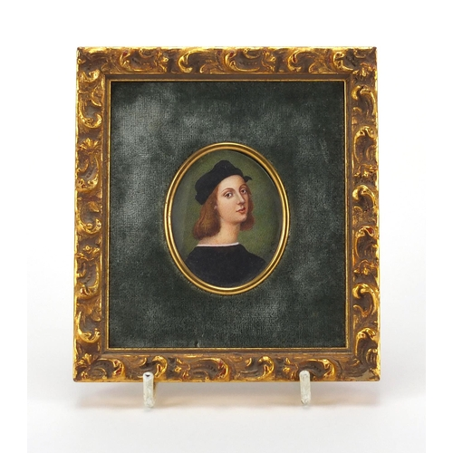 4 - Oval hand painted portrait miniature onto ivory of a female, bearing an indistinct signature, mounte...