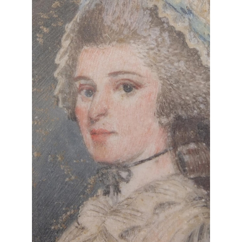 2 - 18th century oval hand painted portrait miniature onto ivory of a young lady, wearing a cap, housed ...