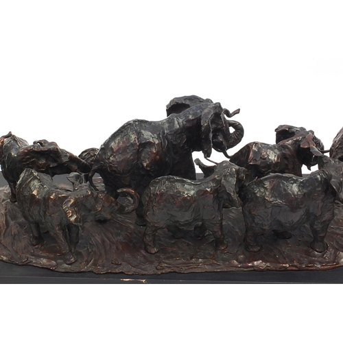 20 - José-Maria David 1944-2015, large patinated bronze Herd Of Twelve Elephants, signed, numbered 1/8 an...