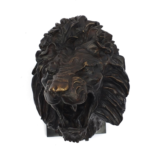 21 - José-Maria David 1944-2015, patinated bronze Roaring Lion's Head, dated 2011 signed, numbered 5/8 an...