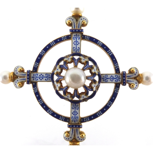 957 - Carlo Giuliano Renaissance Revival gold, enamel and seed pearl crucifix pendant, impressed C.G, 7cm ...