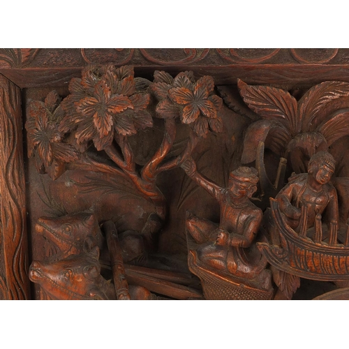 40 - Wood panel relief carved with figures in a cart, 52cm x 50cm...