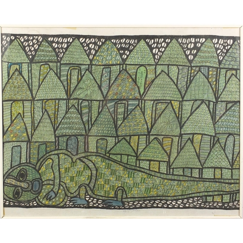 1164 - Chief Z O Oloruntoba - Crocodile figure and his village, pair of die threads on canvases, both frame...