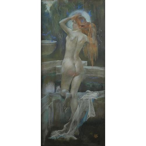1165 - Charles Hazlewood Shannon RA - The Goddess of Ashtoreth, Pre-Raphaelite pastel drawing, Grosvenor Ga...
