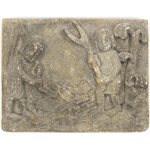 32 - Folk Art stone panel, carved with workers, 46cm x 36cm...