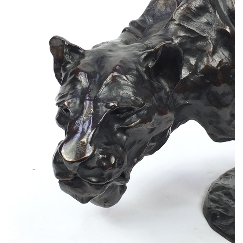18 - José-Maria David 1944-2015, large patinated bronze Lioness, Artist proof 3/4, dated October 2003 sig...