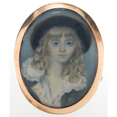3 - 19th century oval hand painted portrait miniature onto ivory of a young gentleman wearing a hat, hou...