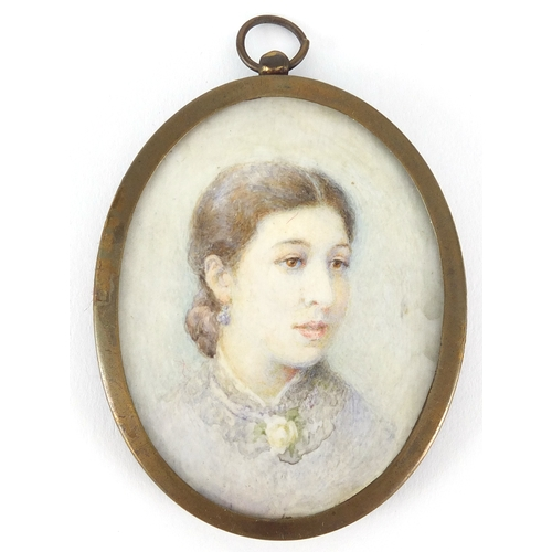 6 - Two oval hand painted portrait miniatures one of a lady and one of a young girl, both housed in bras...
