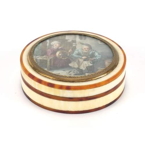 8 - 19th century tortoiseshell and ivory box and cover, the lid with hand painted with a cobbler and his...