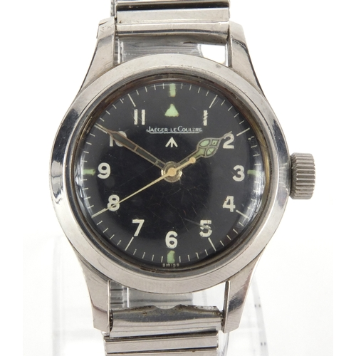 1064 - Jaeger Le-Coultre MKII RAF pilots navigator stainless steel wristwatch, the black dial have having A...