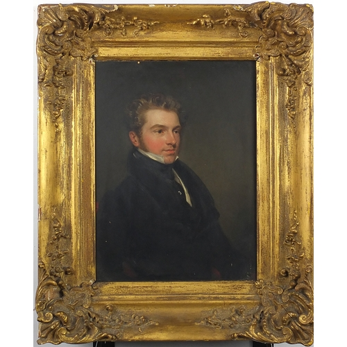 1166 - Head and shoulders portrait of a young gentleman, 19th century American school oil onto wood panel, ...