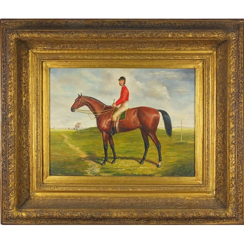 963 - Portrait of a jockey on horseback, oil on wood panel, mounted and framed, 39cm x 28.5cm...