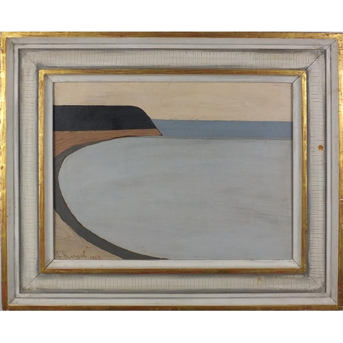 1003 - Abstract composition, coastal scene, oil on board, bearing a signature A Kangel, mounted and framed,...