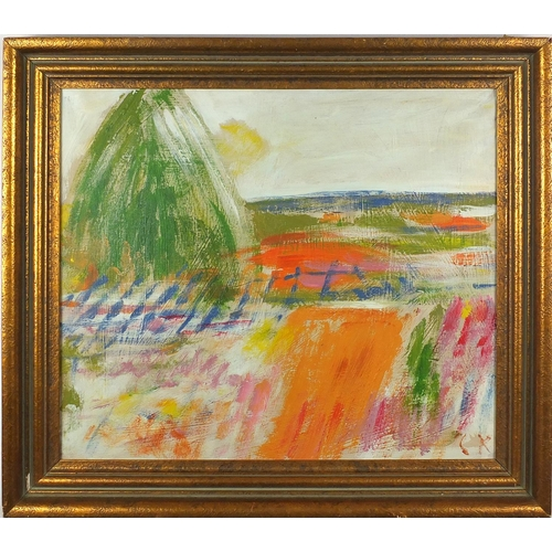 962 - Abstract composition, landscape, oil on canvas, bearing a monogram CK, inscription and label verso, ...