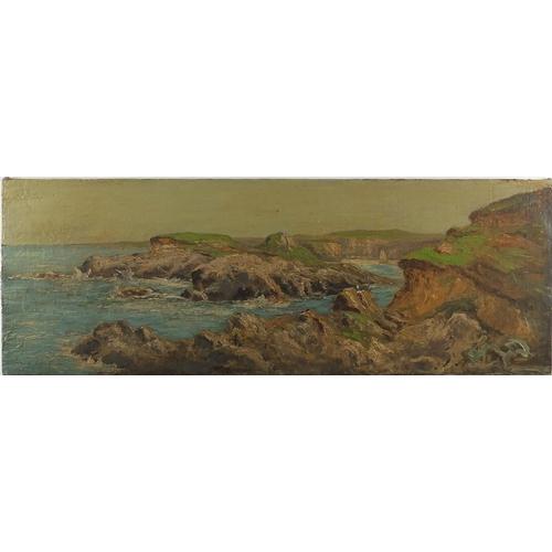 1023 - Cote Bretonne, panoramic rocky coastal scene, oil on canvas laid on wood panel, bearing a indistinct...
