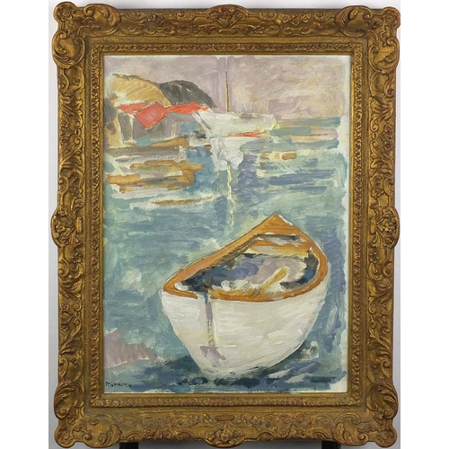 1115 - Boats on calm water, post impressionist oil on canvas board, bearing a signature Rudberg and inscrib...