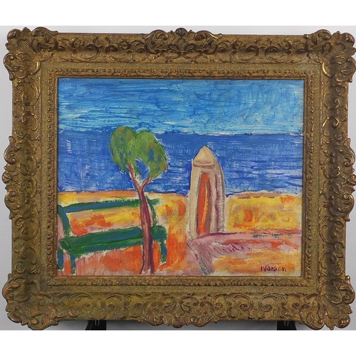 1027 - Beach hut by the sea, post impressionist oil on canvas, bearing a signature Ivarson, framed, 31.5cm ...