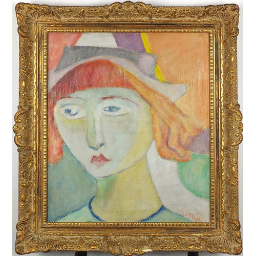 1093 - Head and shoulders portrait of a young female, oil on canvas, bearing a signature Hierten, framed, 4...
