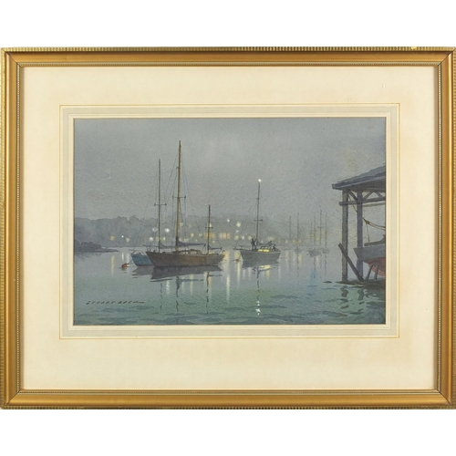 1143 - Stuart Beck - Sea mist coming in, watercolour on card, inscribed Guildhall Art Gallery label verso, ...