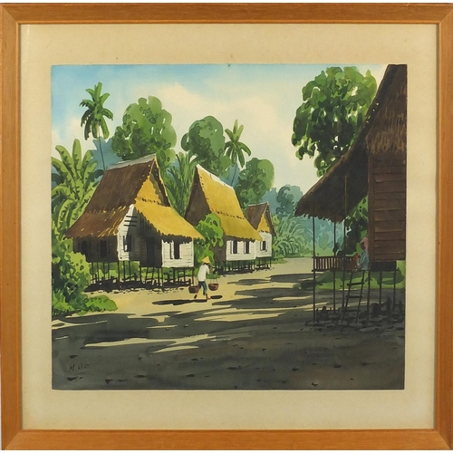 1002 - N Nor - Thai street scene with figure carrying baskets, watercolour on card, mounted and framed, 38c...