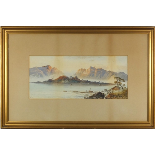 1092 - William Earp - Fishermen before mountains, 19th century watercolour on card, mounted and framed, 52c...