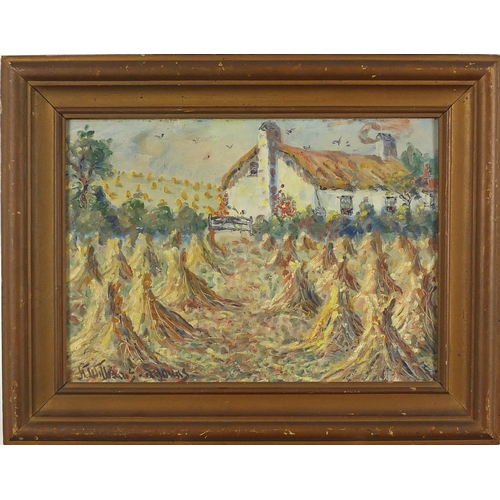 1004 - Cornfields, oil on canvas board, bearing an indistinct signature H William Anouns? and inscription v...