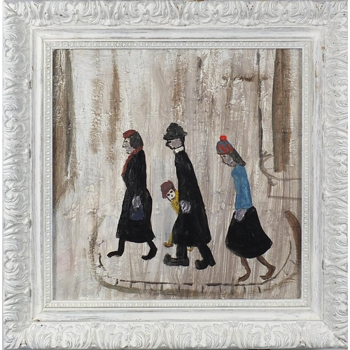 1145 - After Laurence Stephen Lowry - The family, oil on board, framed, 27cm x 27cm...