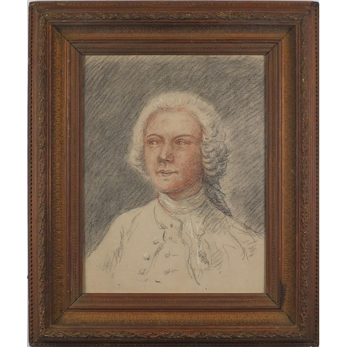 1028 - After Thomas Gainsborough - Head and shoulders portrait of John Joshua Kirby, late 18th century colo...