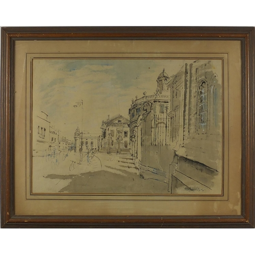 1114 - Edward Piper - Street scene, ink and watercolour, labels verso, framed, 54cm x 39cm...