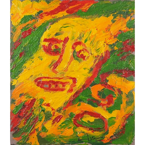 1144 - Abstract composition, portrait of a head, oil on canvas, bearing an indistinct signature, unframed, ...