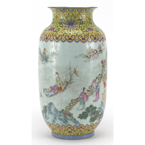 615 - Chinese porcelain vase, finely hand painted in the famille rose palette with figures and a river lan...