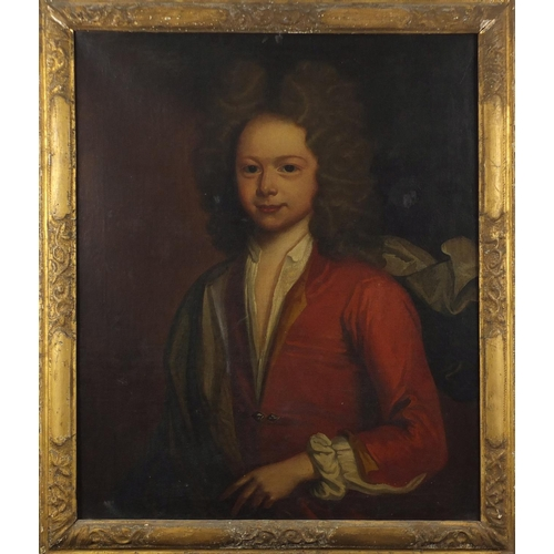 1331 - Head and shoulders portrait of a young male, 17/18th century Old Master oil on canvas, framed, 73cm ...
