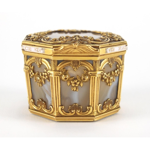 5 - 18th century French octagonal agate, gold cage work and enamel box, with architectural columns and F...