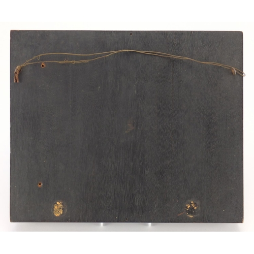 3 - 18/19th century rectangular ivory and penwork panel depicting a tavern scene, framed, 21cm x 12cm ex...