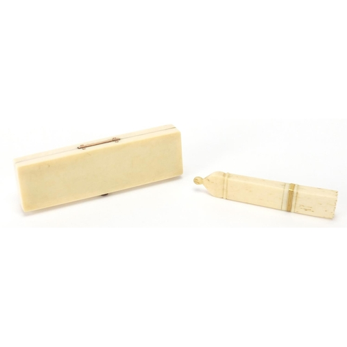 13 - George III rectangular ivory toothpick box, with mirrored back and needle case, both with gold colou...