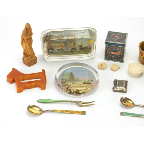35 - Antique and later objects including a carved Black Forest bear, Art Deco dog napkin ring, Norwegian ...